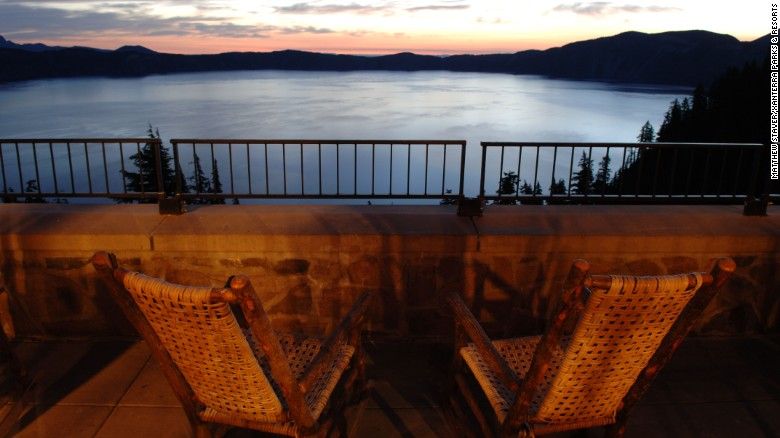 Crater Lake Sunset Balcony View.
