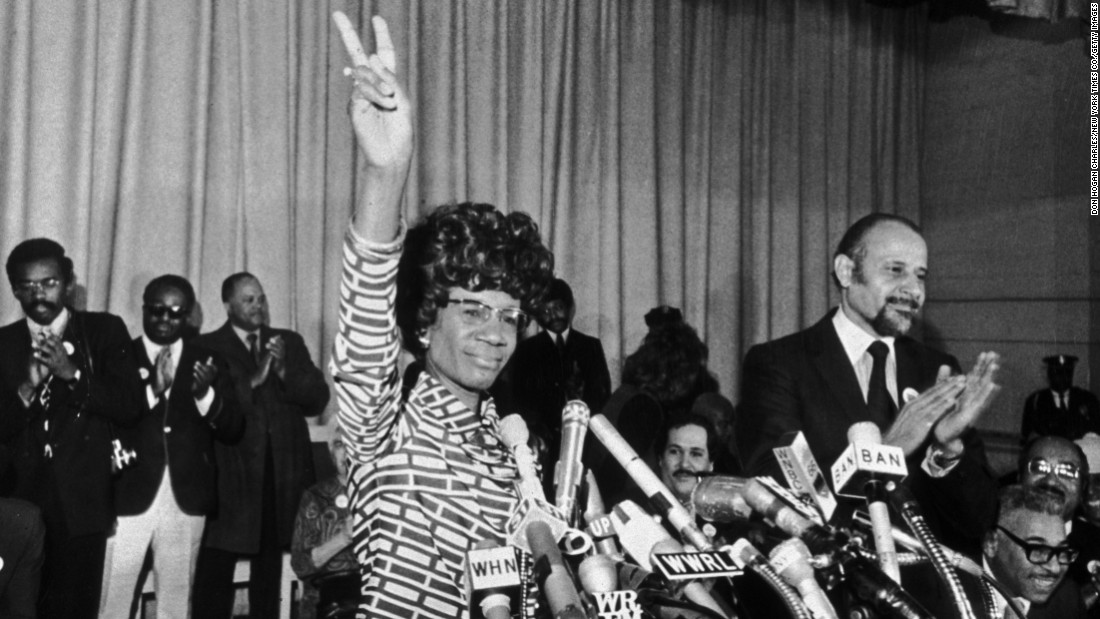 U.S. Rep. Shirley Chisholm announces her entry for Democratic nomination for the presidency in 1972 in Brooklyn, New York. Chisholm was the first African-American female candidate from a major party.