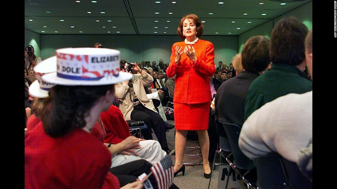 Elizabeth Dole unsuccessfully sought the GOP nomination for president in 2000. She is a former U.S. senator from North Carolina and served as U.S. secretary of  transportation under Ronald Reagan and secretary of labor under George H.W. Bush. She is the wife of former Sen. Bob Dole, the 1996 Republican nominee for president.