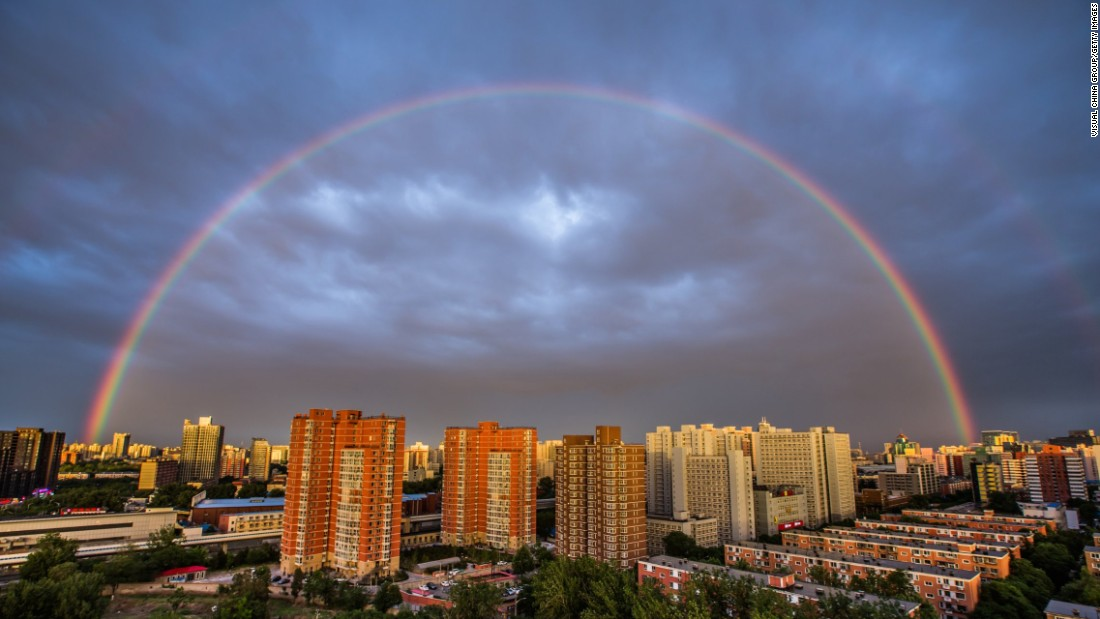 A rainbow appears over Beijing on Thursday, May 23.
