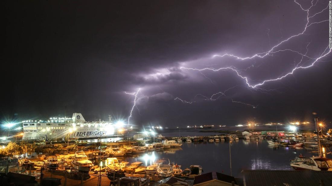 Lightning arcs across the sky in Istanbul on Sunday, May 15.
