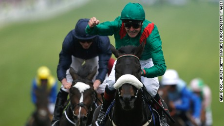 EPSOM, ENGLAND - JUNE 04:  Pat Smullen riding Harzand win The Investec Derby from US Army Ranger (L) and at Epsom Racecourse on June 4, 2016 in Epsom, England. (Photo by Alan Crowhurst/Getty Images)