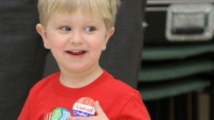 Michael Held III, 2, of Biloxi, Miss., sports an 'I Voted' sticker after joining his father voting in the presidential primaries at the Donal Snyder Community Center in Biloxi, Miss., on Tuesday, March 8, 2016. (John Fitzhugh/Biloxi Sun Herald/TNS) (Newscom TagID: krtphotoslive747086.jpg) [Photo via Newscom]