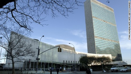 United Nations headquarters is seen in this 14 April, 2005, photo in New York City. The UN Headquarters site is officially international territory, not part of the United States - making New York the only state with a hole in it.  AFP PHOTO/Stan HONDA        (Photo credit should read STAN HONDA/AFP/Getty Images)