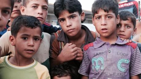 Boys who fled Falluja in the Ahal Camp near Baghdad, Iraq
