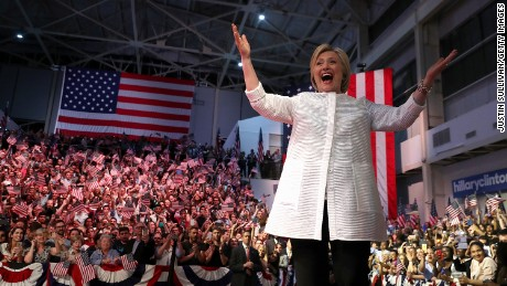 Democratic presidential candidate former Secretary of State Hillary Clinton greets supporters during a primary night event on June 7, 2016 in Brooklyn, New York.