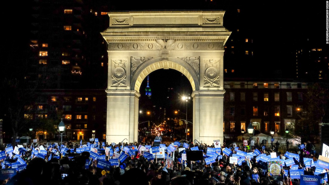 Sanders speaks at a campaign event in New York's Washington Square Park on April 13.
