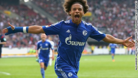 STUTTGART, GERMANY - SEPTEMBER 20:  Leroy Sane of Schalke celebrates scoring the opening goal during the Bundesliga match between VfB Stuttgart and FC Schalke 04 at Mercedes-Benz Arena on September 20, 2015 in Stuttgart, Germany.  (Photo by Alexander Hassenstein/Bongarts/Getty Images)