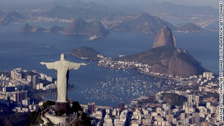 RIO DE JANEIRO, BRAZIL - AUGUST 05: Aerial view of Christ the Redeemer, Flamengo Beach, the Sugar Loaf and Guanabara Bay  with one year to go to the Rio 2016 Olympic Games on August 5, 2015 in Rio de Janeiro, Brazil.   (Photo by Matthew Stockman/Getty Images)