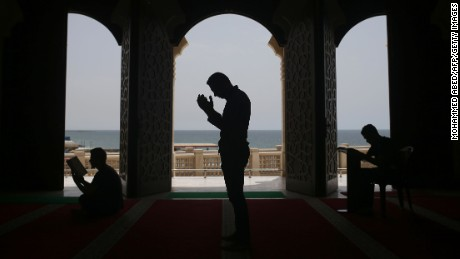 Palestinians pray at the al-Khaldi mosque in Gaza City on June 8 during the third day of the Muslim holy month of Ramadan.