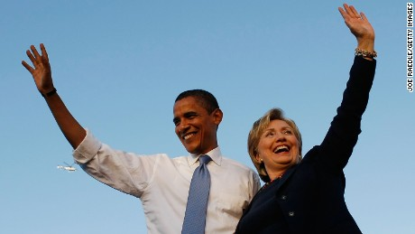 Democratic presidential nominee U.S. Sen. Barack Obama (D-IL) and Sen. Hillary Clinton (D-NY) attend a campaign rally together at Amway Arena October 20, 2008 in Orlando, Florida.