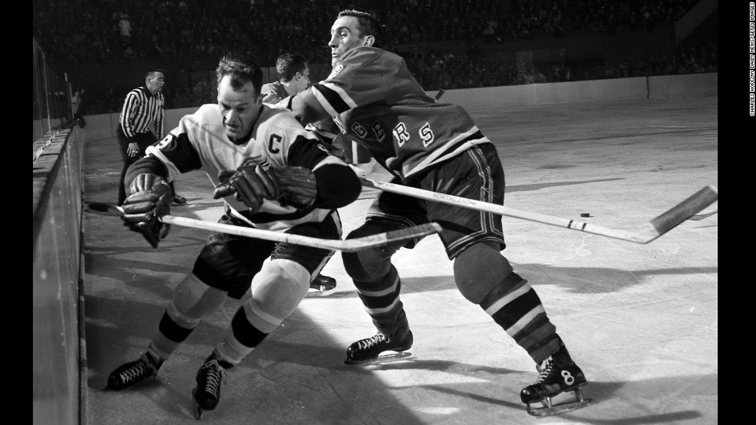 "Hockey legend <a href=""http://www.cnn.com/2016/06/10/us/gordie-howe-dies/index.html"" target=""_blank"">Gordie Howe</a>, left, scored 801 goals in his NHL career and won four Stanley Cups with the Detroit Red Wings. Howe, also known as ""Mr. Hockey,"" died Friday, June 10, at the age of 88, his son Marty said."