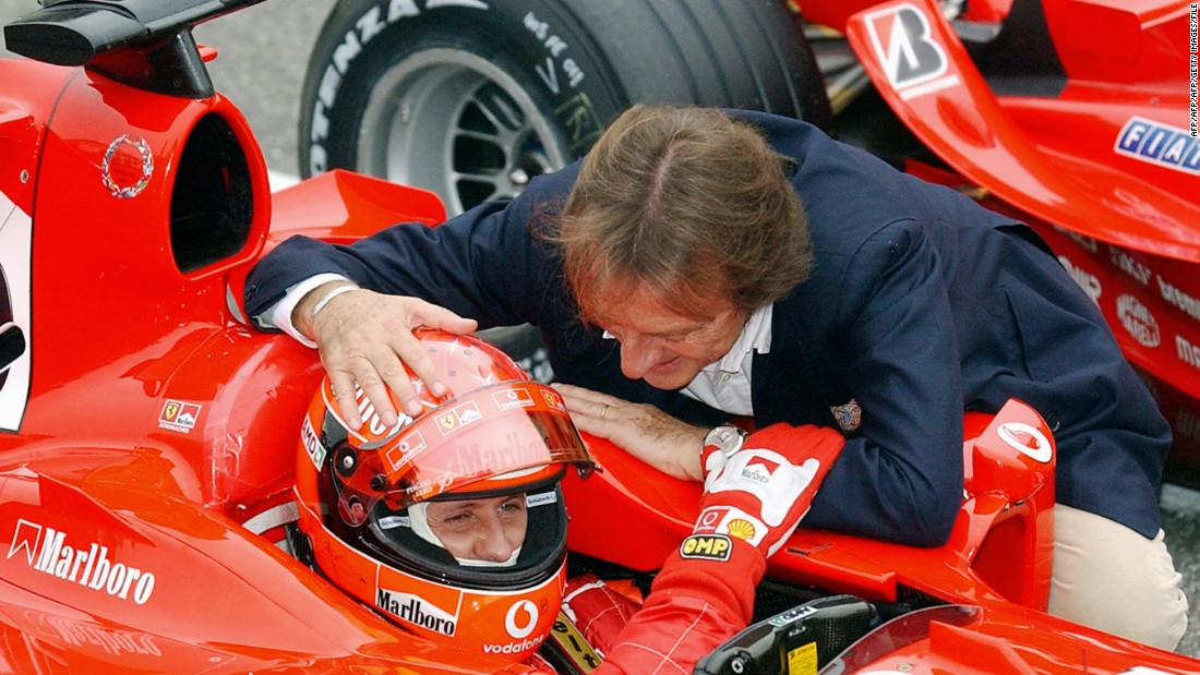 Di Montezemolo shares a joke with Michael Schumacher at Monza in 2004. Schumacher is the most important driver in the Italian racing team's illustrious history, says Montezemolo.
