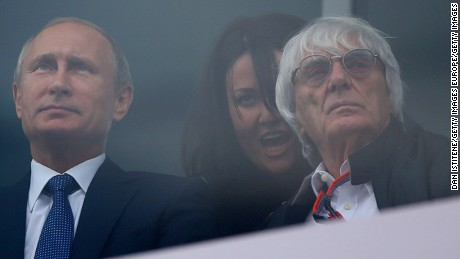 SOCHI, RUSSIA - OCTOBER 11:  President of Russia, Vladimir Putin sits with F1 supremo Bernie Ecclestone as they watch the end of the Formula One Grand Prix of Russia at Sochi Autodrom on October 11, 2015 in Sochi, Russia.  (Photo by Dan Istitene/Getty Images)