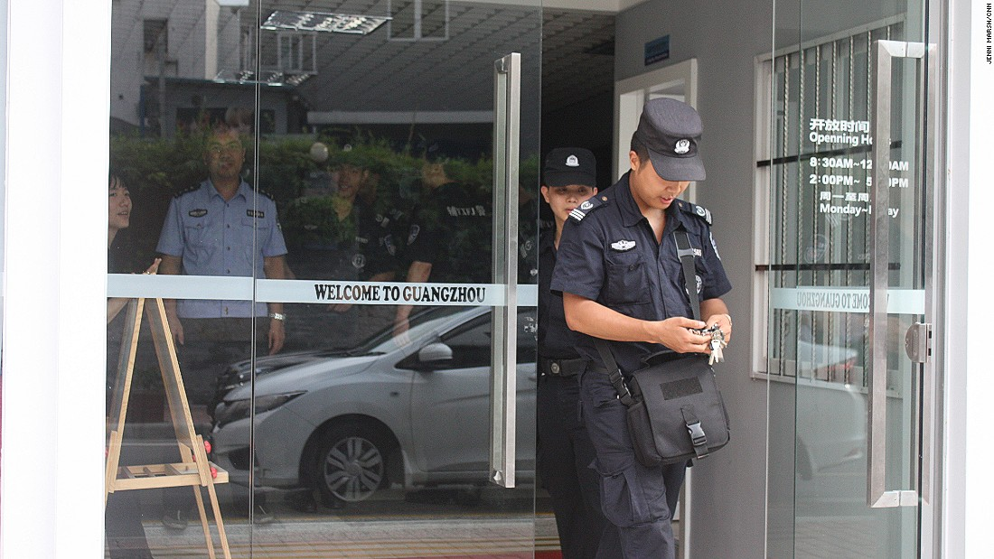 Welcome to Guangzhou ... the police station in Dengfeng is heavily manned by officers.