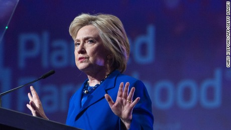 Democratic presidential candidate Hillary Clinton addresses the Planned Parenthood Action Fund in Washington DC, June 10, 2016.