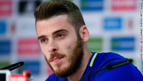 LA ROCHELLE, FRANCE - JUNE 10:  David de Gea of Spain faces the media during press conference on June 10, 2016 in La Rochelle, France.  (Photo by David Ramos/Getty Images)
