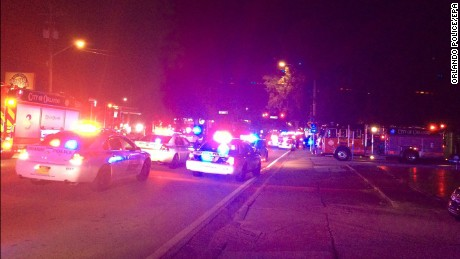 A handout photograph made available by the Orlando Police showing a general view of the scene following a shooting at Pulse Nightclub in Orlando, Florida, June 12.