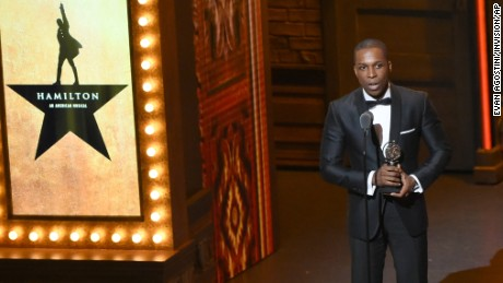 "Leslie Odom Jr. accepts the award for leading actor in a musical for ""Hamilton,"" at the Tony Awards at the Beacon Theatre on Sunday, June 12, 2016, in New York."