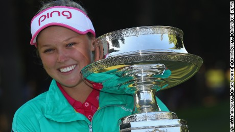 SAMMAMISH, WA - JUNE 12:  Brooke Henderson of Canada poses with the trophy after winning the KPMG Women's PGA Championship at the Sahalee Country Club on June 12, 2016 in Sammamish, Washington.  (Photo by Scott Halleran/Getty Images for KPMG)