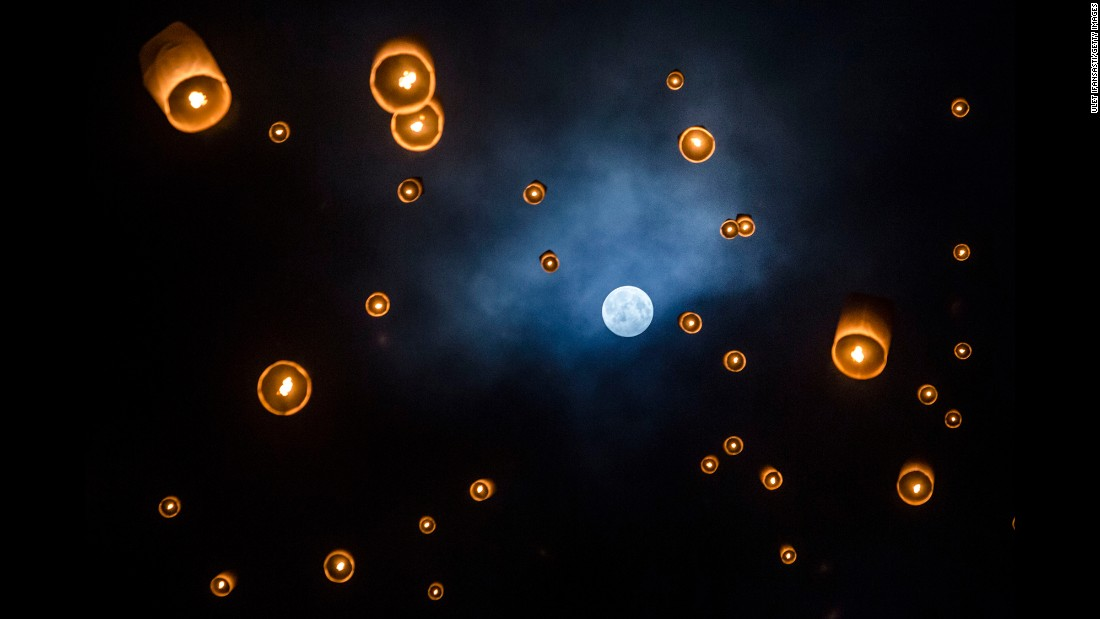 Lanterns are released into the air at Borobudur temple during the Buddhist festival of Vesak on May 21 in Magelang, Indonesia. The day marks the birth, enlightenment and death of Gautama Buddha, founder of Buddhism.