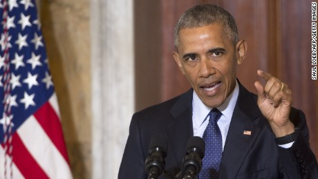"""US President Barack Obama speaks following a National Security Council meeting on the Islamic State at the Department of Treasury in Washington, DC, June 14, 2016. US President Barack Obama on June 14 said the Islamic State group was losing ground in Iraq and Syria, and that the number of foreign fighters joining the extremists was plummeting. """"ISIL lost nearly half of the populated territory it had in Iraq and it will lose more. ISIL continues to lose ground in Syria as well,"""" Obama said after a meeting of the National Security Council on the fight against the jihadist group. """"In short, our coalition continues to be on offense. ISIL is on defense,"""" Obama said, using an alternate acronym for the group.  / AFP / SAUL LOEB        (Photo credit should read SAUL LOEB/AFP/Getty Images)"""