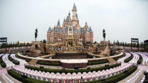 Seats are set up for the opening ceremony in front of the Enchanted Storybook Castle at Shanghai Disney Resort in Shanghai on June 15, 2016.