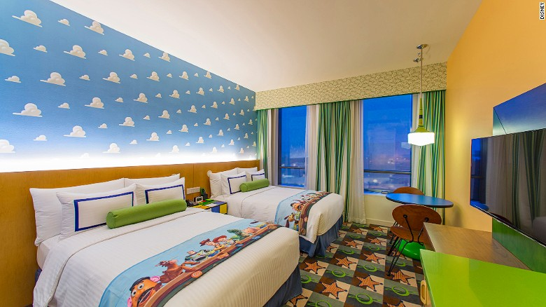 One of the 800 rooms inside Shanghai Disney Resort's Toy Story Hotel.
