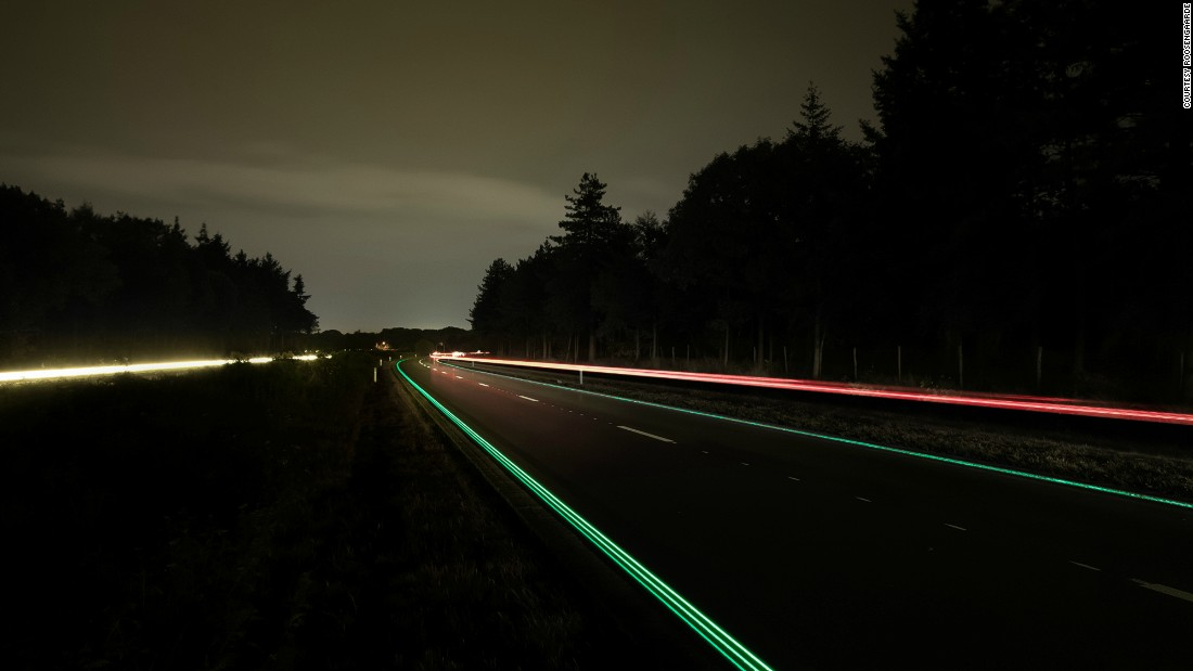 """Created by Dutch artist <a href=""""https://www.studioroosegaarde.net"""" target=""""_blank"""">Daan Roosegaarde</a> and Heijmans Infrastructure, these """"Smart Highways"""" are a series of interactive and sustainable roads. The designers are experimenting with a number of solutions such as glowing lines, pictured, that use sunlight to charge, and glow in the dark.<br />"""