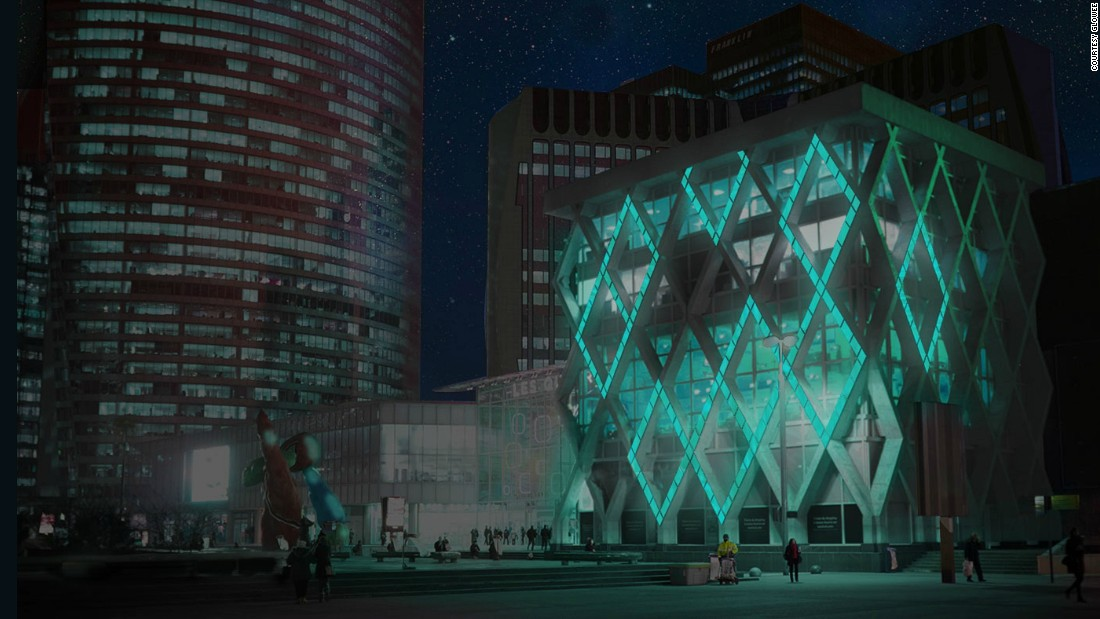 """A rendering of French start-up <a href=""""http://www.glowee.eu/"""" target=""""_blank"""">Glowee</a>'s vision of urban lighting, which uses bioluminescence, a kind of living energy source found in nature. Its soft glowing light emits less heat and light pollution than ordinary lighting, the company says."""