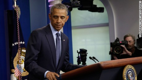 US President Barack Obama turns to leave after making a statement on the mass shooting at an Orlando, Florida nightclub in the White House Briefing Room in Washington, DC on June 12, 2016.  Fifty people died and another 53 were injured when a gunman opened fire and seized hostages at a gay nightclub in Florida, police said Sunday, making it the worst mass shooting in US history. / AFP / YURI GRIPAS        (Photo credit should read YURI GRIPAS/AFP/Getty Images)