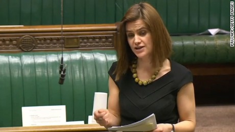 "A video grab taken from footage broadcast by the UK parliamentary recording unit (PRU) on June 16, 2016 Labour party member of parliament Jo Cox speaks during a session in the House of Commons in central London on March 21, 2016. British lawmaker Jo Cox has been shot and injured in her constituency in northern England, media reported on June 16. Jo Cox, 41, a mother of two, was left bleeding on the pavement after the incident in Birstall in Yorkshire, the Press Association cited an eyewitness as saying.  / AFP PHOTO / PRU / PRU / RESTRICTED TO EDITORIAL USE - MANDATORY CREDIT "" AFP PHOTO / PRU "" - NO MARKETING NO ADVERTISING CAMPAIGNS - NO RESALE - NO DISTRIBUTION TO THIRD PARTIES - 24 HOURS USE - NO ARCHIVES PRU/AFP/Getty Images"