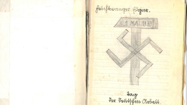 Edgar Feuchtwanger couldn't escape Nazi propaganda, as this notebook sketch from boyhood shows.