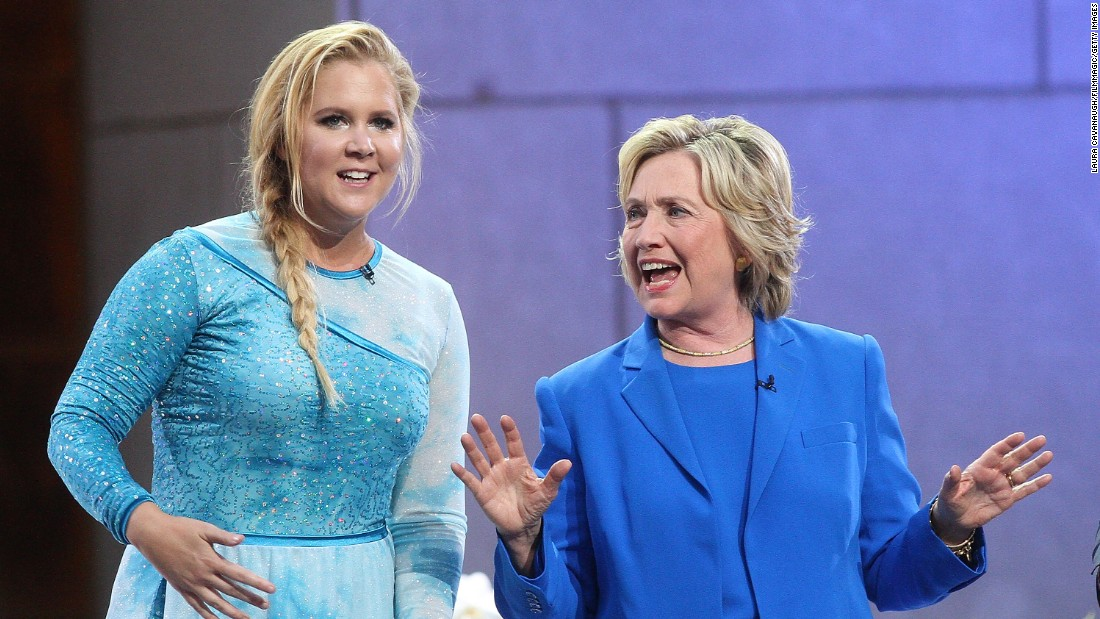 "Amy Schumer and Hillary Clinton attend ""The Ellen DeGeneres Show"" at New York's Rockefeller Center in September 2015. Schumer used a picture of the two of them from the show to declare <a href=""https://twitter.com/amyschumer/status/715221814373445632?ref_src=twsrc%5Etfw"" target=""_blank"">on Twitter in March: ""#I'mWithHer.""</a>"