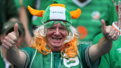A Republic of Ireland fan supports his team during the UEFA Euro 2016 Group E match between Republic of Ireland and Sweden at Stade de France on June 13, 2016 in Paris, France.