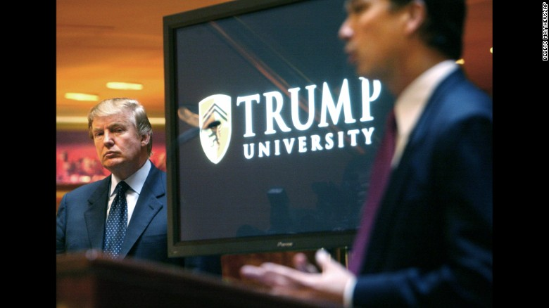 "Trump attends a news conference in 2005 that announced the establishment of Trump University. From 2005 until it closed in 2010, Trump University had about 10,000 people sign up for a program that promised success in real estate. <a href=""http://money.cnn.com/2016/03/08/news/trump-university-controversy-donald-trump/"" target=""_blank"">Three separate lawsuits</a> -- two class-action suits filed in California and one filed by New York's attorney general -- have argued that the program was mired in fraud and deception. Trump's camp has rejected the class-action suits' claims as ""baseless."" And Trump has charged that the New York case against him is politically motivated."