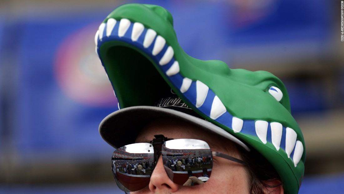 A University of Florida fan wears a gator hat at a football game in 2005.