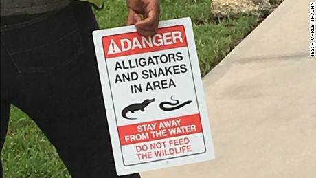 "CNN has picture of Disney worker carrying new signs around Seven Seas Lagoonthat warn of ""Danger, Alligators and Snakes in Area. Stay away from the weater.  Do not feed the Wildlife."""