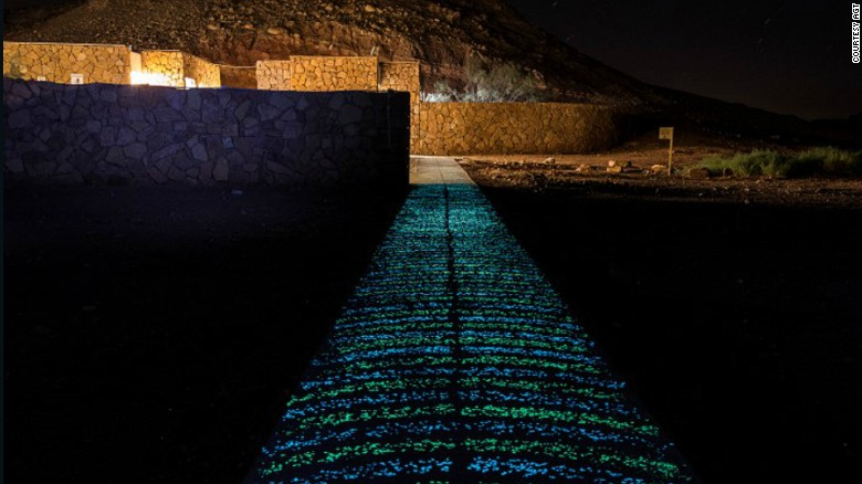 This path in Be'erot Khan, Israel, is lit up at night by Ambient Glow Technology, which uses a photoluminescent stone that can be placed in concrete and asphalt. The stones glow throughout the night after having soaked up light during the day, according to the makers.