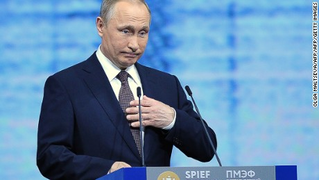 Russian President Vladimir Putin gives a speech at a session of the St. Petersburg International Economic Forum (SPIEF 2016) in Saint Petersburg on June 17, 2016. / AFP / OLGA MALTSEVA        (Photo credit should read OLGA MALTSEVA/AFP/Getty Images)