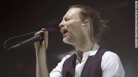 Lead singer Thom Yorke of the British band Radiohead performs on stage during a concert at the Zenith concert hall on May 24, 2016 in Paris.    / AFP / PATRICK KOVARIK        (Photo credit should read PATRICK KOVARIK/AFP/Getty Images)