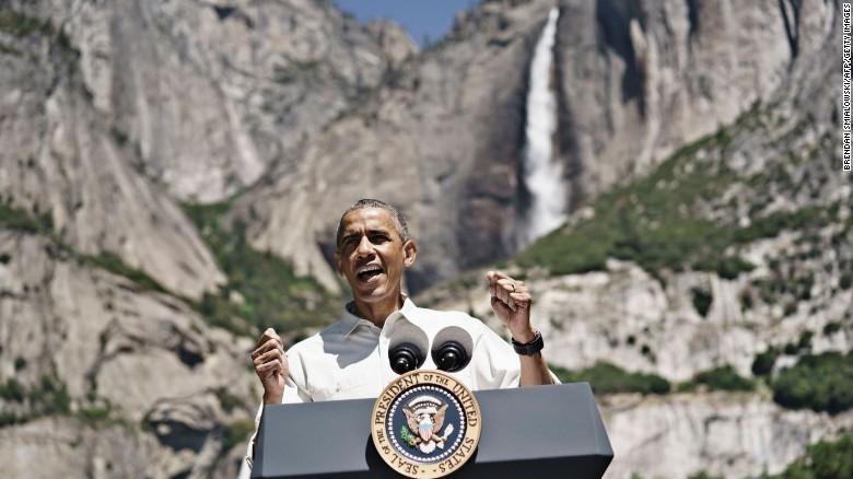 The Obamas tour Yosemite National Park