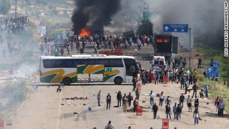 Protesting teachers block a highway in Oaxaca on June 19.