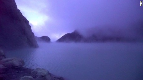 Mount Ijen crater lake.