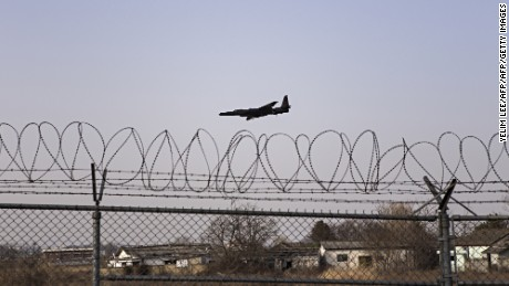 A US military U2 reconnaissance aircraft lands at the Osan US military air base south of Seoul on March 6, 2016. South Korea will soon announce its own tougher sanctions on North Korea, an official said, a move set to further heighten tensions as Seoul and Washington begin their largest-ever joint military exercise. / AFP / YELIM LEE        (Photo credit should read YELIM LEE/AFP/Getty Images)