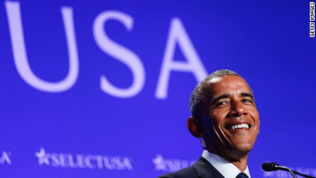 WASHINGTON, DC - JUNE 20: (AFP-OUT) US President Barack Obama speaks at the SelectUSA Investment Summit at the Washington Hilton on June 20, 2016 in Washington, DC. The SelectUSA Investment Summit was created five years ago as an effort to bring job creating investment to the United States. (Photo by Aude Guerrucci-Pool/Getty Images)