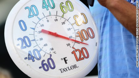 KANSAS CITY, MO - AUGUST 02:  A thermometer shows temperature at over 100 degrees prior to the start of the game between the Baltimore Orioles and the Kansas City Royals  on August 2, 2011 at Kauffman Stadium in Kansas City, Missouri.  (Photo by Jamie Squire/Getty Images)