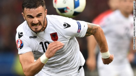 Albania's forward Armando Sadiku plays the ball during the Euro 2016 group A football match between France and Albania at the Velodrome stadium in Marseille on June 15, 2016. / AFP / BERTRAND LANGLOIS        (Photo credit should read BERTRAND LANGLOIS/AFP/Getty Images)
