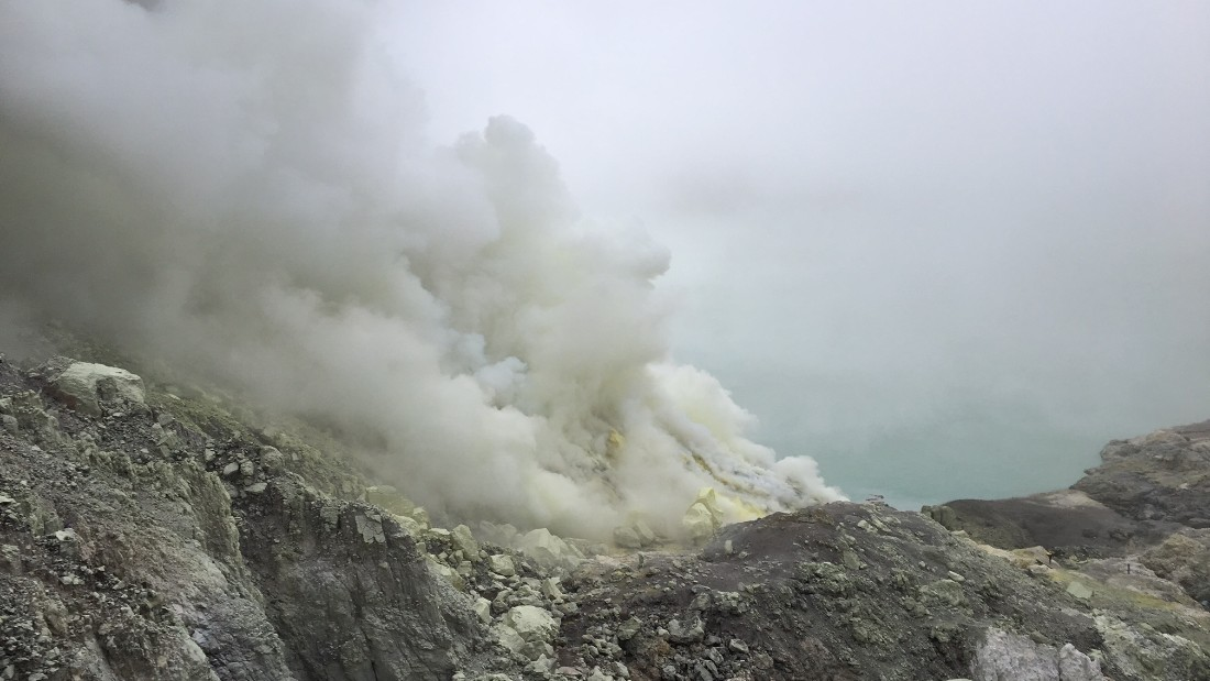 The air at the crater is thick with toxic volcanic gas.