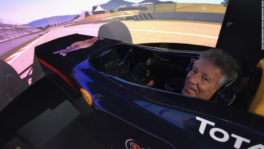 Even former F1 world champions can't resist a spin in the Red Bull Racing simulator. American legend Mario Andretti -- winner of the 1978 world title -- tries the sim out for size on a visit to the team in 2011.